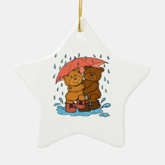 Spielen im Regen Keramik Stern-Ornament