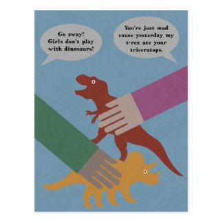 Spielen mit Dinosauriern Postkarte