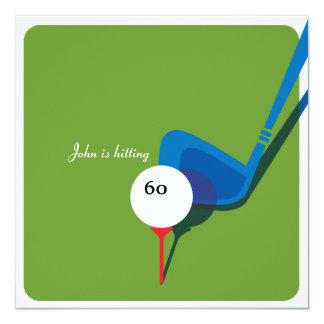 Spielen Sie 60. Geburtstag - noch schwingend Golf! Quadratische 13,3 Cm Einladungskarte