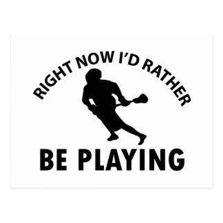 Spielen von Lacrosse Postkarte