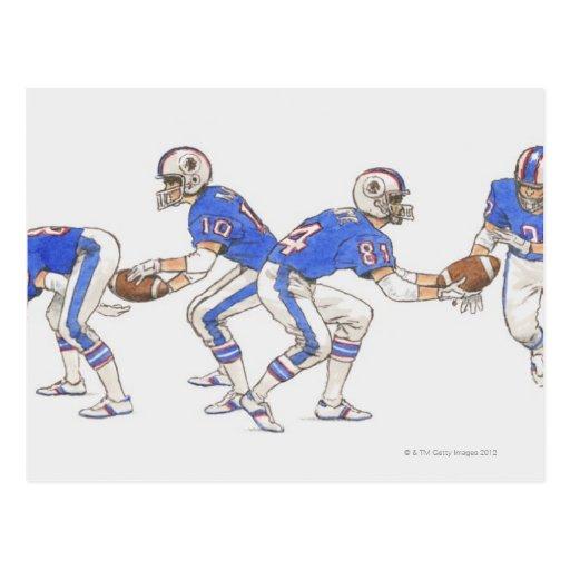Spieler des amerikanischen Fußballs, die Bewegunge Postkarten