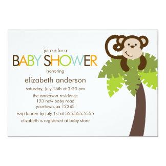 Spielerische Affe-Babyparty Karte