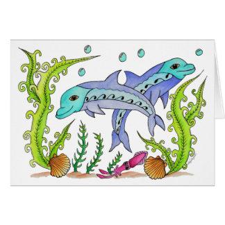 Spielerische Delphine Karte