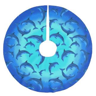 Spielerische Delphine unter dem Seetropischen Polyester Weihnachtsbaumdecke