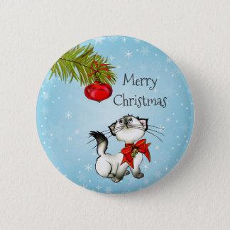 Spielerische frohe Weihnacht-Miezekatze mit einem Runder Button 5,1 Cm