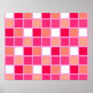 Spielerische Harlekin-Lippenstift-Farbfliesen Poster