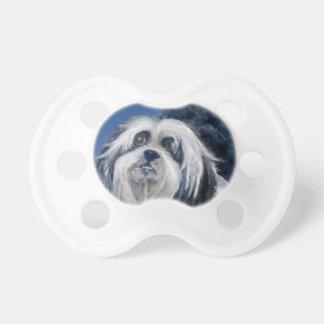 Spielerischer kleiner Schwarzweiss-Hund Schnuller