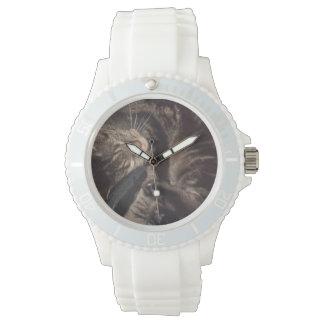 Spielerisches sportliches weißes Silikon Daves Armbanduhr