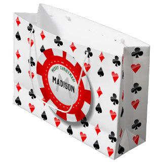 Spielkarte-Anzüge mit mit Monogramm Poker-Chip Große Geschenktüte