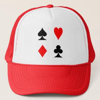 Spielkarte-Anzugs-Herz-Diamant-Spaten-Verein-Hut Truckerkappe