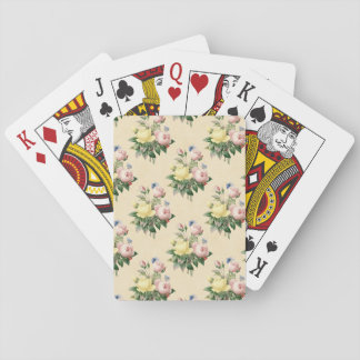 Spielkarten des Vintagen Rosen-Blumenmit