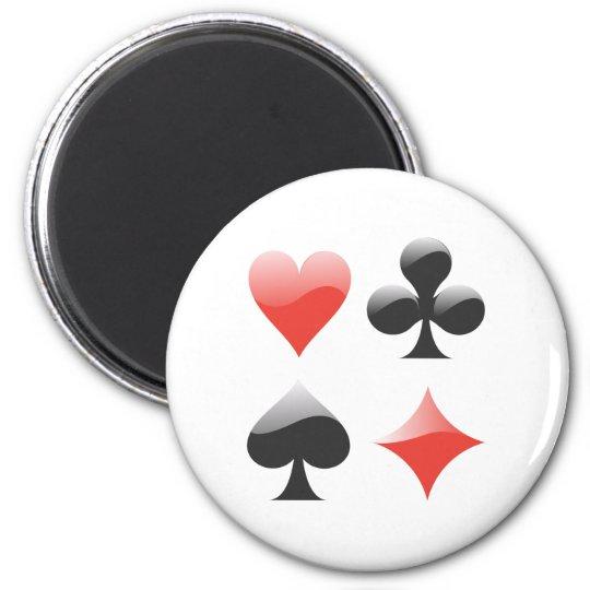 Spielkarten Farben playing cards suits Runder Magnet 5,1 Cm