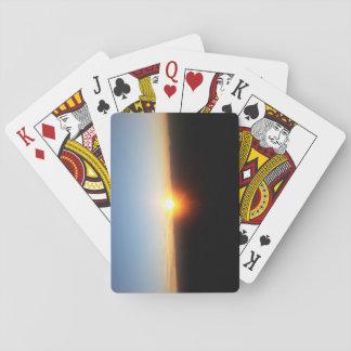 Spielkarten mit Gebirgssonnenuntergang