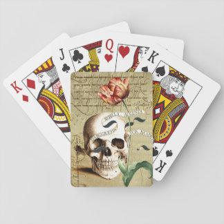 Spielkarten Steampunk Schädel-Blumenhalloweens