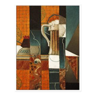 Spielkarten und Glas Bier durch Juan Gris Postkarte