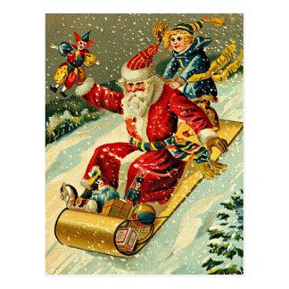 Spielzeit mit Weihnachtsmann Postkarte