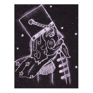 Spielzeug-Soldat in Schwarzem und in Lila Postkarte
