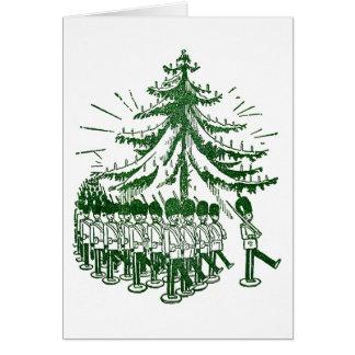 Spielzeug-Soldat-März ringsum einen Baum Karte