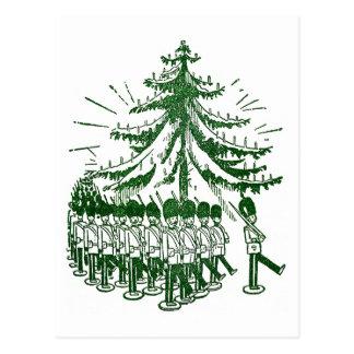Spielzeug-Soldat-März ringsum einen Baum Postkarte