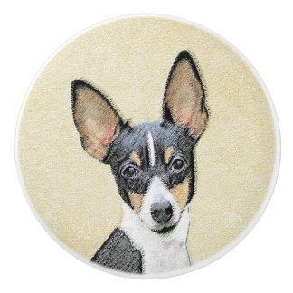 Spielzeugfox-Terrier-Malerei - niedliche Keramikknauf