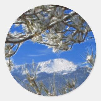 Spiess-umfaßte Höchstwinter-Schnee Fraktal-Kunst Runder Sticker