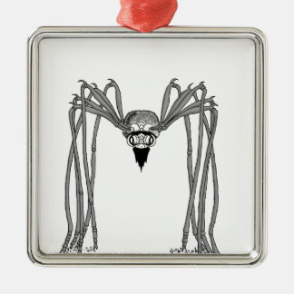 Spinne. Schwarzweiss Silbernes Ornament