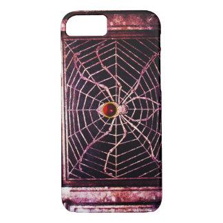 SPINNE UND NETZ rotes karminrotes Schwarzes iPhone 7 Hülle