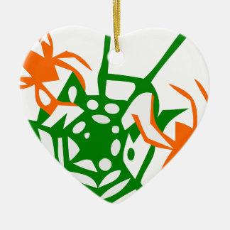 Spinne und orange Grün des Netzes Keramik Ornament