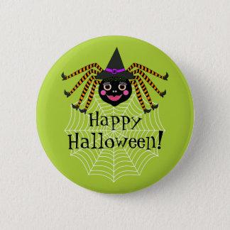 Spinnen-Hexe glückliches Halloween Runder Button 5,7 Cm