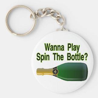 Spinnen Sie die Flasche Schlüsselanhänger