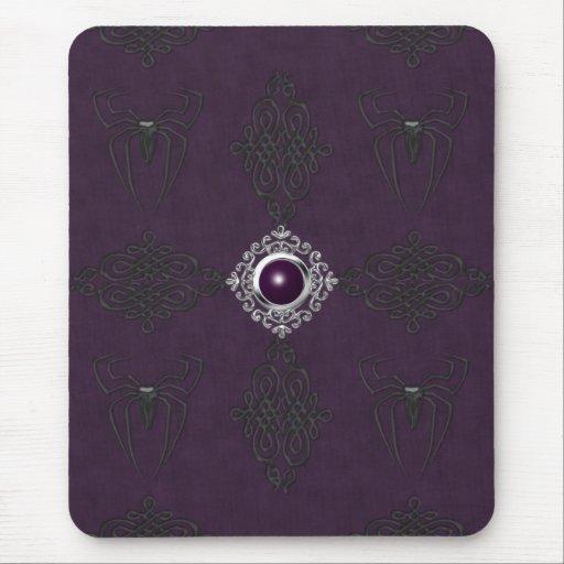 Spinnen u. lila u. silberner gotischer Edelstein M Mauspad