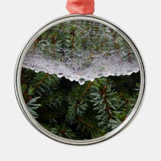 Spinnennetz Rundes Silberfarbenes Ornament