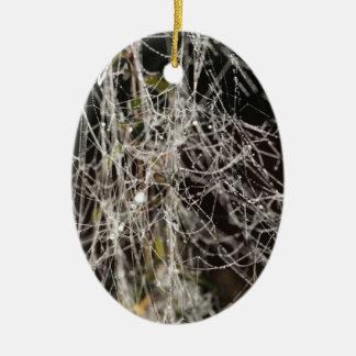 Spinnennetze mit Tautropfen Keramik Ornament