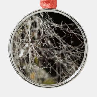 Spinnennetze mit Tautropfen Silbernes Ornament