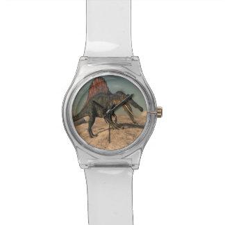 Spinosaurus Dinosaurier, der eine Schlange jagt Armbanduhr