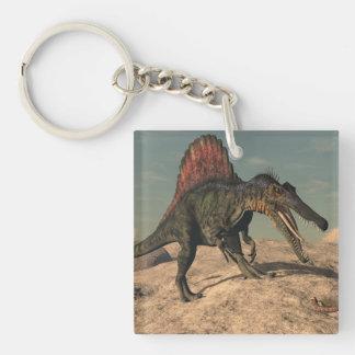 Spinosaurus Dinosaurier, der eine Schlange jagt Schlüsselanhänger