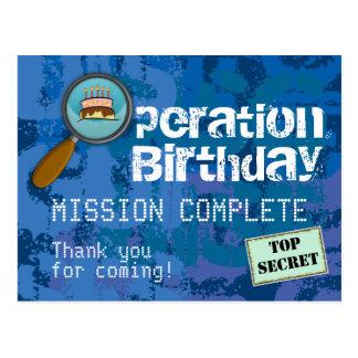 Spion/geheimer/spezieller Agent-Geburtstag danken Postkarte