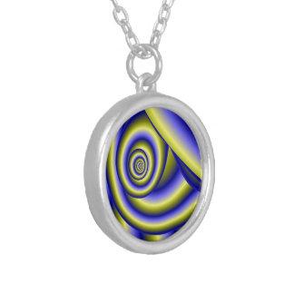 Spirale blau-gelb halskette mit rundem anhänger