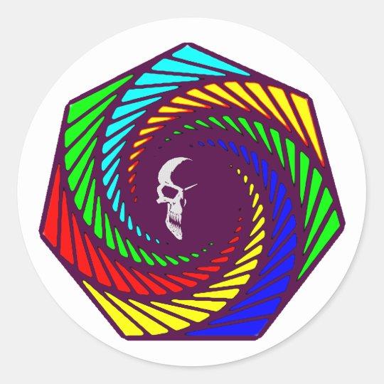 Spirale Schädel Totenkopf spiral skull Runder Aufkleber