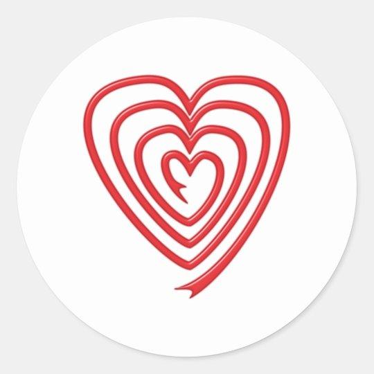 Spiralherz spiral heart runder aufkleber