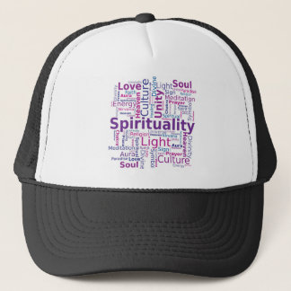 Spiritualität-Wort-Wolke - Rosa Truckerkappe