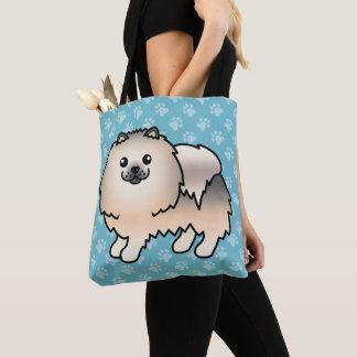 Spitz-Cartoon-Hund im Sahnesable-Mantel Tasche