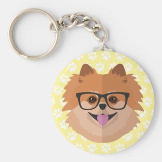 Spitz-Hund im niedlichen Hipster-Geschenk der Standard Runder Schlüsselanhänger