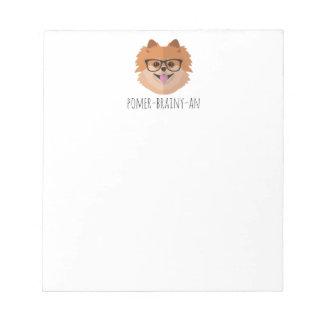 Spitz-Hund in den Nerd-Gläsern | POMER-BRAINY-AN Notizblock
