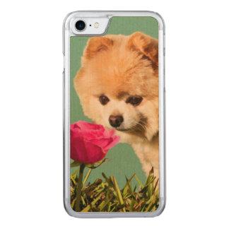 Spitz-Hund und Rose Carved iPhone 8/7 Hülle
