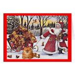 Spitz-Weihnachtskarte Sankt und Bären Karte