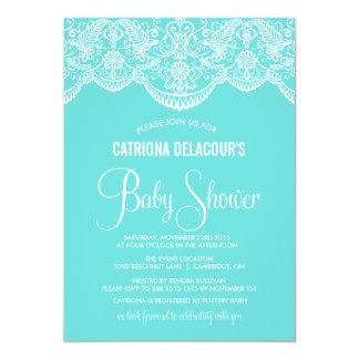 Spitze-Babyparty-Einladung Tiffanys blaue 12,7 X 17,8 Cm Einladungskarte