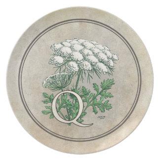Spitze-Blumen-Alphabet-Monogramm der Königin-Anne Melaminteller