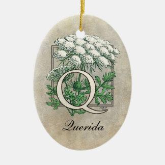 Spitze-Blumen-Monogramm der Königin-Anne Keramik Ornament