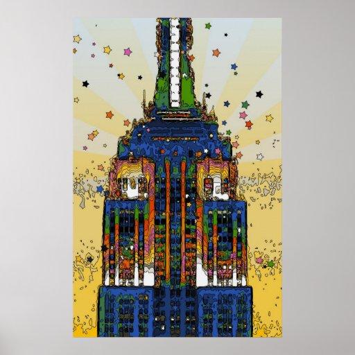 Spitze der psychedelischen NYC Art des Reich-Staat Posterdruck